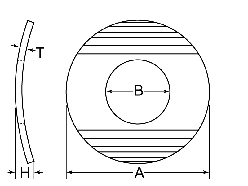 Curved Washer Tech Drawing