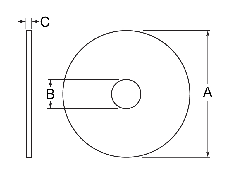 Fender Washer Tech Drawing