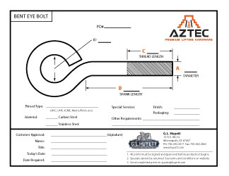 Bent Eye Bolt | Aztec Lifting Hardware
