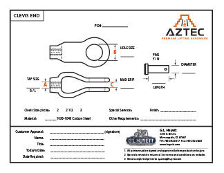 Clevis End   Aztec Lifting Hardware