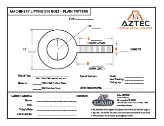 Machinery Eye Bolt - Plain Pattern | Aztec Lifting Hardware