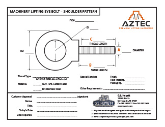 Machinery Eye Bolt - Shoulder Pattern   Aztec Lifting Hardware