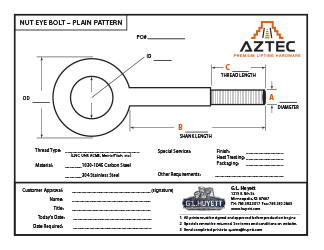 Plain Pattern Nut Eye Bolt | Aztec Lifting Hardware