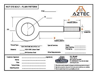 Plain Pattern Nut Eye Bolt   Aztec Lifting Hardware