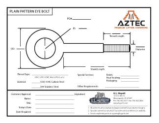 Plain Pattern Eye Bolt | Aztec Lifting Hardware