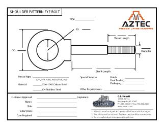 Shoulder Pattern Eye Bolt | Aztec Lifting Hardware