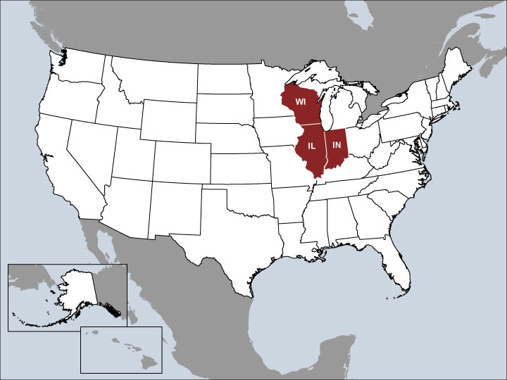 USA Map with Highlighted Sales Regions: IL, IN, WI