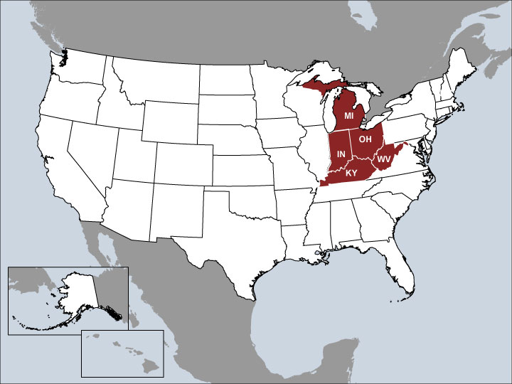 USA Map with Highlighted Sales Regions: IN, KY, MI, OH, WV