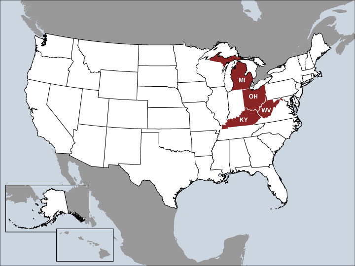 USA Map with Highlighted Sales Regions: KY, MI, OH, WV