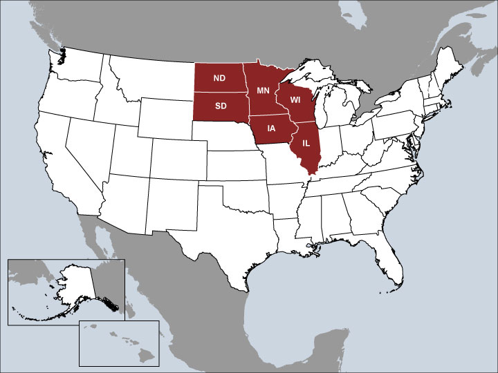 USA Map with Highlighted Sales Regions: IA, IL, MN, ND, SD, WI