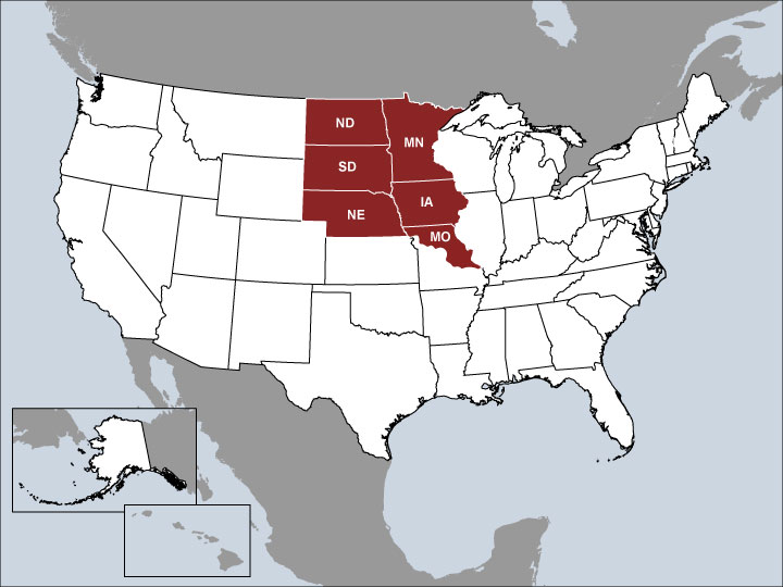 USA Map with Highlighted Sales Regions: IA, MN, Northern MO, ND, NE, SD